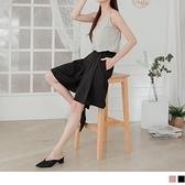 韓系OL立挺打褶側腰鬆緊雪紡五分寬褲 OrangeBear《BA5761》