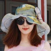 夏季薄款透氣雪紡大蝴蝶沙灘太陽帽涼帽女士海邊遮陽帽防曬帽子女 完美情人精品館