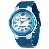 JAGA 捷卡 指針錶 白面 亮藍色橡膠 38mm 學生錶/大錶 防水手錶 清楚時間判讀 AQ68A-DE