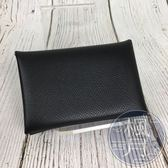 BRAND楓月 HERMES 愛馬仕 C刻 CALVI 黑色 牛皮 卡包 零錢包 卡夾 萬用小包