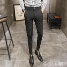 西裝褲 褲子男秋季新款黑色休閒褲修身小腳顯瘦發型師西裝褲韓版潮流西褲 生活主義