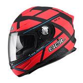 【SOL SF-5 ALPHA  阿爾法 SF5 全罩 安全帽 消光黑紅 】內襯全可拆、內藏鏡片、免運+好禮