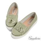 莫卡辛鞋 抓皺縫線流蘇軟底休閒鞋-綠