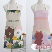 圍裙-布朗熊 情侶無袖 美式布藝家居廚房烘焙圍裙做飯男女圍腰廚師罩衣-奇幻樂園