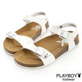 PLAYBOY 隨性美學 漆皮平底休閒涼鞋-白