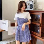 清倉$388 韓系拼接格紋T恤寬鬆時尚休閒短裙短袖洋裝