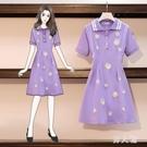 碎花洋裝 遮肉小雛菊針織連身裙女2020年流行新款夏季寬鬆大碼顯瘦紫色繡花短裙 TZ709 【男人範】