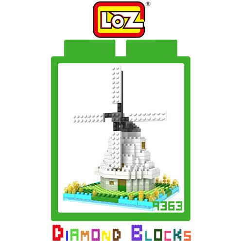 摩比小兔~ 破盤下殺折扣 LOZ 鑽石積木-9363 荷蘭風車 建築系列 益智玩具 趣味 腦力激盪 正版積木