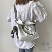 帆布包女韓版百搭斜挎包大容量手提包側背包【極簡生活】
