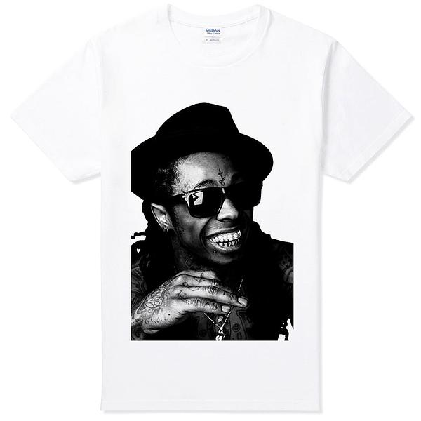 Lil Wayne-Face短袖T恤-白色 刺青嘻哈rap hip hop R&B潮流樂團玩翻JAY Z