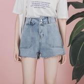 高腰不對稱牛仔闊腿短褲女春2019新款寬鬆顯瘦百搭a字熱褲超短褲