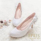 現貨 MIT小中大尺碼婚鞋內增高推薦 微風女神 蕾絲水鑽高跟鞋 21-26 EPRIS艾佩絲-浪漫白色