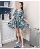 雪紡洋裝2019夏季流行款中大碼中短袖連身裙小心機中長款修身顯瘦度假裙cp70『Pink領袖衣社』
