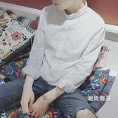 長袖襯衫亞麻襯衫男長袖春秋青少年修身正韓白襯衣情侶寸衫小清新M-4XL