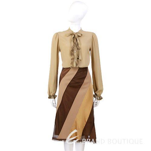 Lorella Braglia 咖啡/駝色斜紋拼接及膝裙 0510330-02