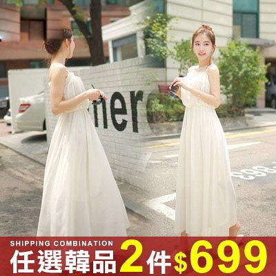 任選2件699連身裙甜美荷葉邊吊帶無袖雪紡連身裙長裙【08G-M0897】