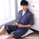 青年男士睡袍夏季短袖中長款浴衣夏天半袖薄款純棉布大碼寬鬆浴袍 居家物語