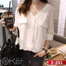 女神風範V領雪紡襯衫 S-2XL O-k...