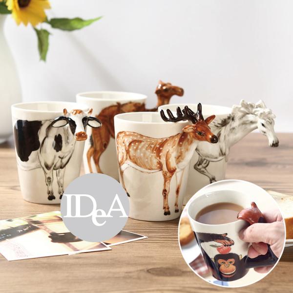 現貨 3D立體動物馬克杯 造形動物杯 陶瓷杯 牛奶杯 水杯 辦公室 學生 禮物 咖啡杯 大象 叢林 彩繪