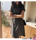 熱賣大碼洋裝 短袖連身裙中裙韓版2021春裝大碼螺紋棉純色中長款寬鬆T恤裙 coco