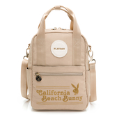 PLAYBOY- 後背包可肩背 California Bunny系列 -米黃色