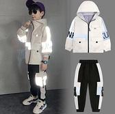 男童套裝 童裝男童2021春裝新款工裝套裝加絨冬季網紅洋氣兒童中大童【快速出貨八折搶購】