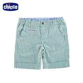 chicco-夏威夷-配色直條五分褲-綠白條
