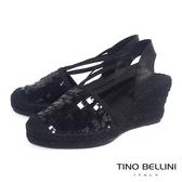 Tino Bellini 西班牙進口耀眼添足麻底楔型鞋_黑 A63053A 2017SS 歐洲進口款