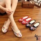 中國風復古喜鵲登枝刺繡繡花鞋布藝拖鞋低跟女涼拖鞋 週年慶降價