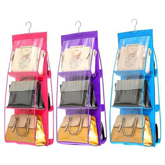 收納袋 掛式 整理袋 置物 收納袋 包包收納 防塵袋 分類 立體 雙面六格收納掛袋【Z038】米菈生活館