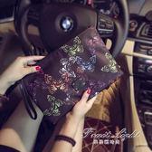 手拿信封包原創設計韓版手包 蝴蝶圖案手拿包 潮流尚男女手拿包信封包潮 果果輕時尚