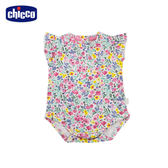 chicco-To Be Baby-荷葉袖條紋連身衣-粉花朵