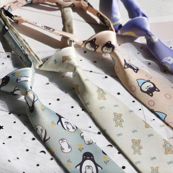 Shindek原創設計領帶女ins可愛粉紫卡通免打懶人小領帶扣帶