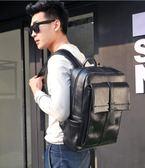 袋鼠潮流時尚休閒青年雙肩包男士背包日韓版大容量黑色PU皮書包男   提拉米蘇
