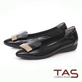 ★2018春夏新品★TAS 金屬一字造型尖頭娃娃鞋-實搭黑
