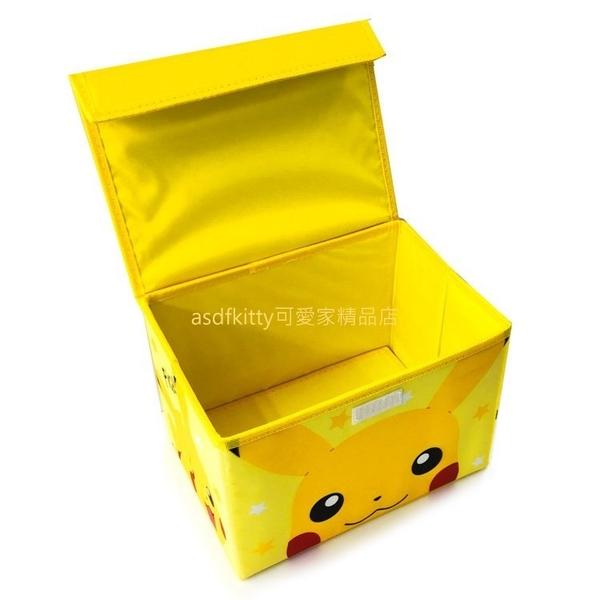 asdfkitty*寶可夢 神奇寶貝 皮卡丘大臉可摺疊小型收納箱/整理箱/置物箱-日本正版商品