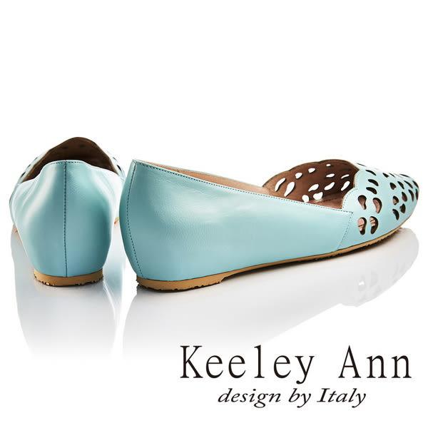 ★2017春夏★Keeley Ann甜美氣息~豆型鏤空雕花花瓣造型全真皮微增高平底鞋(藍色)-Ann系列