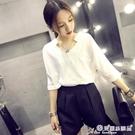 雪紡短袖 白色雪紡襯衫女短袖2020夏季韓版寬鬆百搭V領上衣職業裝春裝 7月熱賣