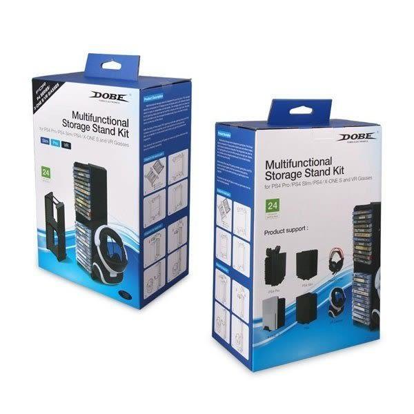 【刷卡+免運】PS4/ ONE S/Slim/Pro DOBE TY-838 VR 多功能 周邊置物架 可裝24片光碟 側邊耳機掛