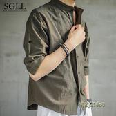 亞麻襯衫男夏季短袖襯衣寬鬆大碼男裝棉麻半袖男士休閒上衣「時尚彩虹屋」