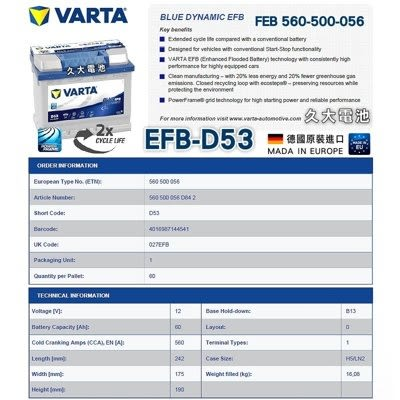 ✚久大電池❚ 德國進口 VARTA D53 EFB 60Ah 福斯 VW Polo 1.4  2010~2016