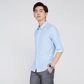 男條紋中袖襯衫韓版休閒流修身純棉襯衫