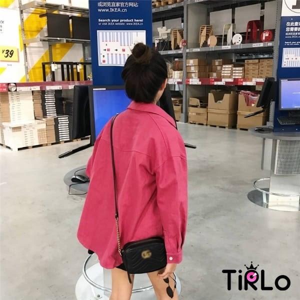 外套 -Tirlo-推薦!可愛玫紅色oversize外套-一色(現+追加預計5-7工作天出貨)