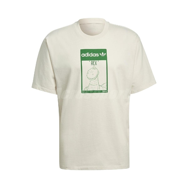 adidas 短袖T恤 Original Tee Rex 米白 綠 男女款 短T 抱抱龍 玩具總度員 運動休閒 【ACS】 GP3396