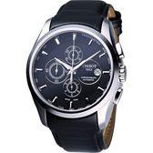 TISSOT 天梭 Couturier 建構師系列計時機械錶-黑 T0356271605100