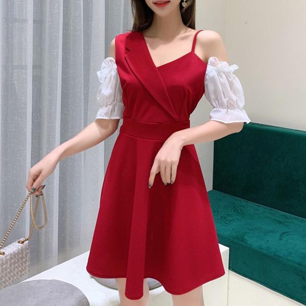 出清288 韓國風泡泡袖收腰露肩吊帶假兩件小禮服性感短袖洋裝