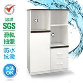 IHouse-SGS 防潮抗蟲蛀緩衝塑鋼一門二抽二拖置物電器櫃