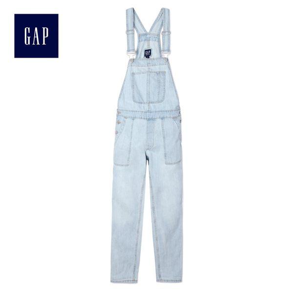 Gap女裝 休閒淺色水洗牛仔吊帶褲 440623-淺水洗藍