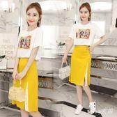 時尚小心機俏皮套裝新款韓版女裝短袖T恤半身裙兩件套潮 js4841『miss洛羽』