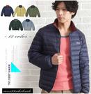 【大盤大】(D888) 藍 輕量羽絨衣 羽絨外套 口袋 保暖夾克 男 女 立領 輕薄 情人節禮物【剩M和L號】